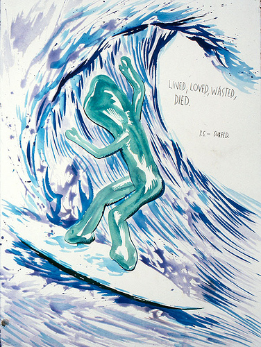 Raymond Pettibon No Title (Lived, Loved, Wasted,) 1998; collection of theLudwig Museum, Cologne, Germany