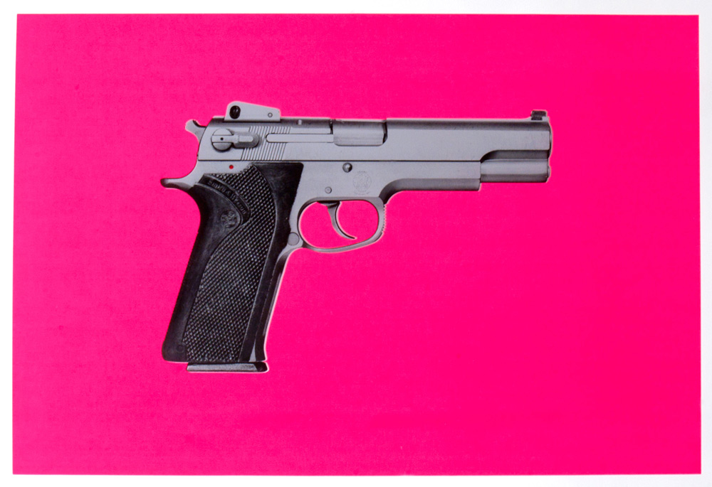 Training Day (pink)    2013    unique hand pulled screen print on Coventry Rag 290 gm wt.    29 1/2 x 43 1/2 inches (hand torn edges)    edition of 2 hand painted multiples    Smith & Wesson 4506 .45ACP pistol Alonzo Harris (Denzel Washington) carries throughout Antoine Fuqua's 2001 motion picture,   Training Day    signed, dated and numbered 1/2 lower right, stamped with studio chop lower left