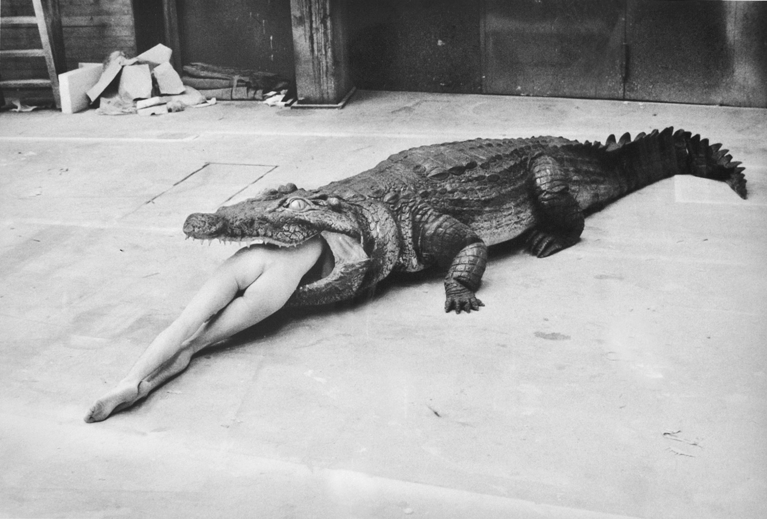 Helmut Newton   The Legend of Virginity, A Scene from Pina Bausch's Ballet, Wuppertal   1983   9 x 13 inches (22.9 x 33 cm)   platinum palladium print   signed lower right verso