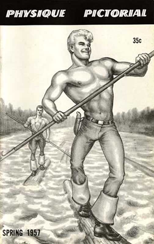 First published illustration by  Tom of Finland  for the cover of Physique Pictorial by  Bob Mizer , 1957.