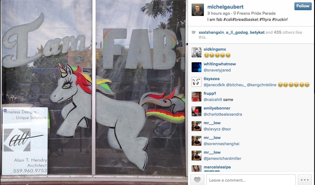 Michel Gaubert.  I am fab #cali #breadbasket#filya #truckin', 2014 . Courtesy of Art.