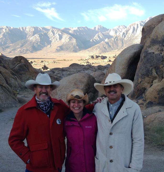 Cowboy poet Larry Maurice on Kristine's left; Western film historian Dave Matuszak to the right