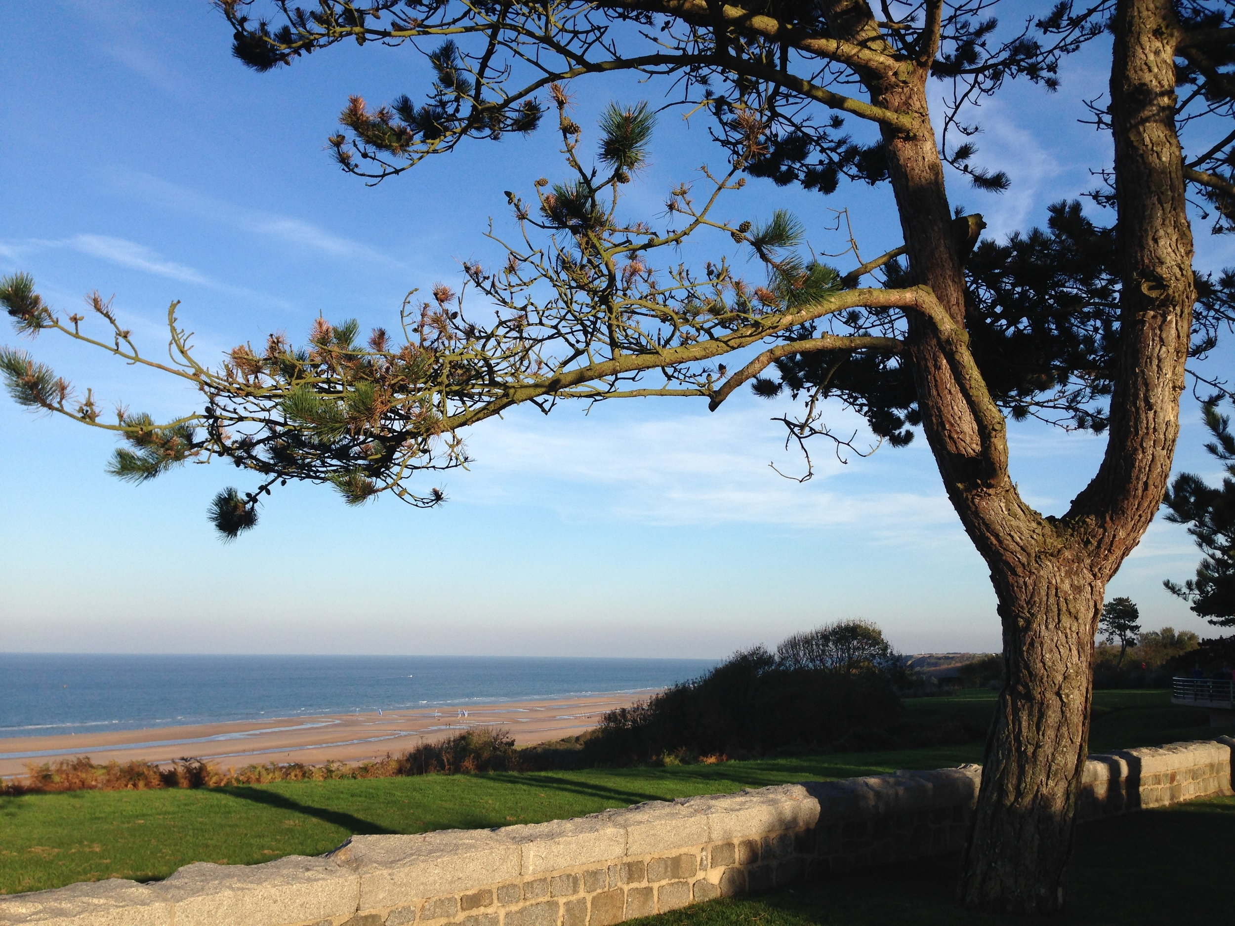 View of the coastline from the Normandy American Cemetery, Colleville-sur-Mer.