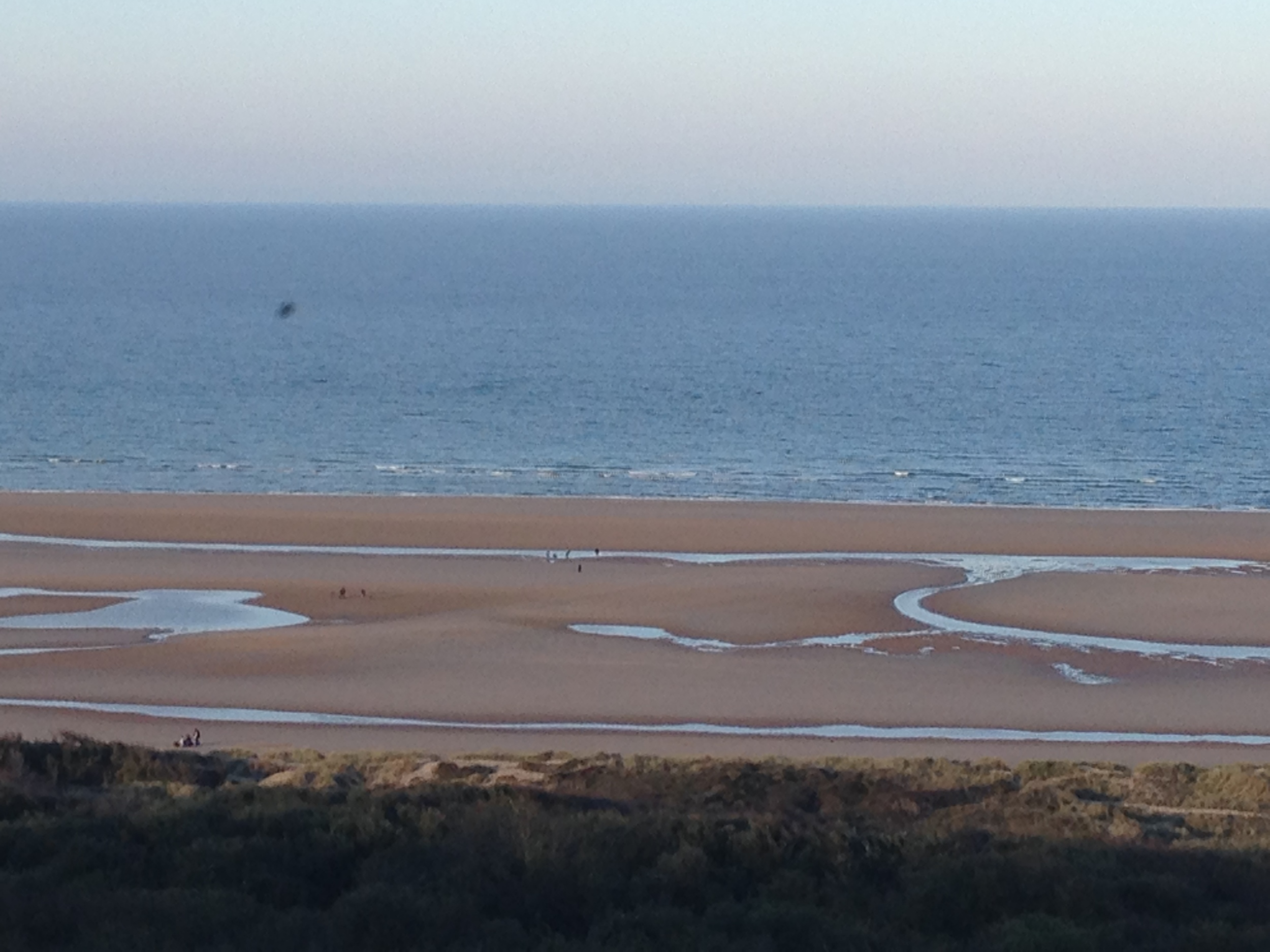 View down to beaches where Allied troops landed. Hard to imagine on such bucolic soil so many Allies lost their lives.