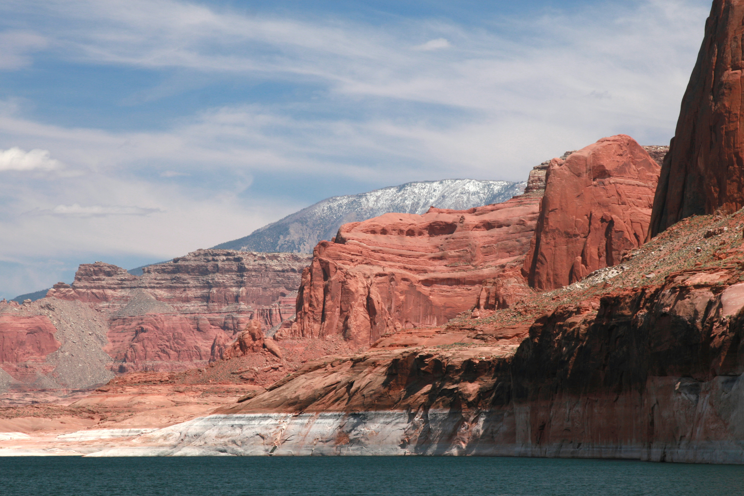 Bathtub ring on Lake Powell—the second largest man-made reservoir by maximum water capacity in the United States