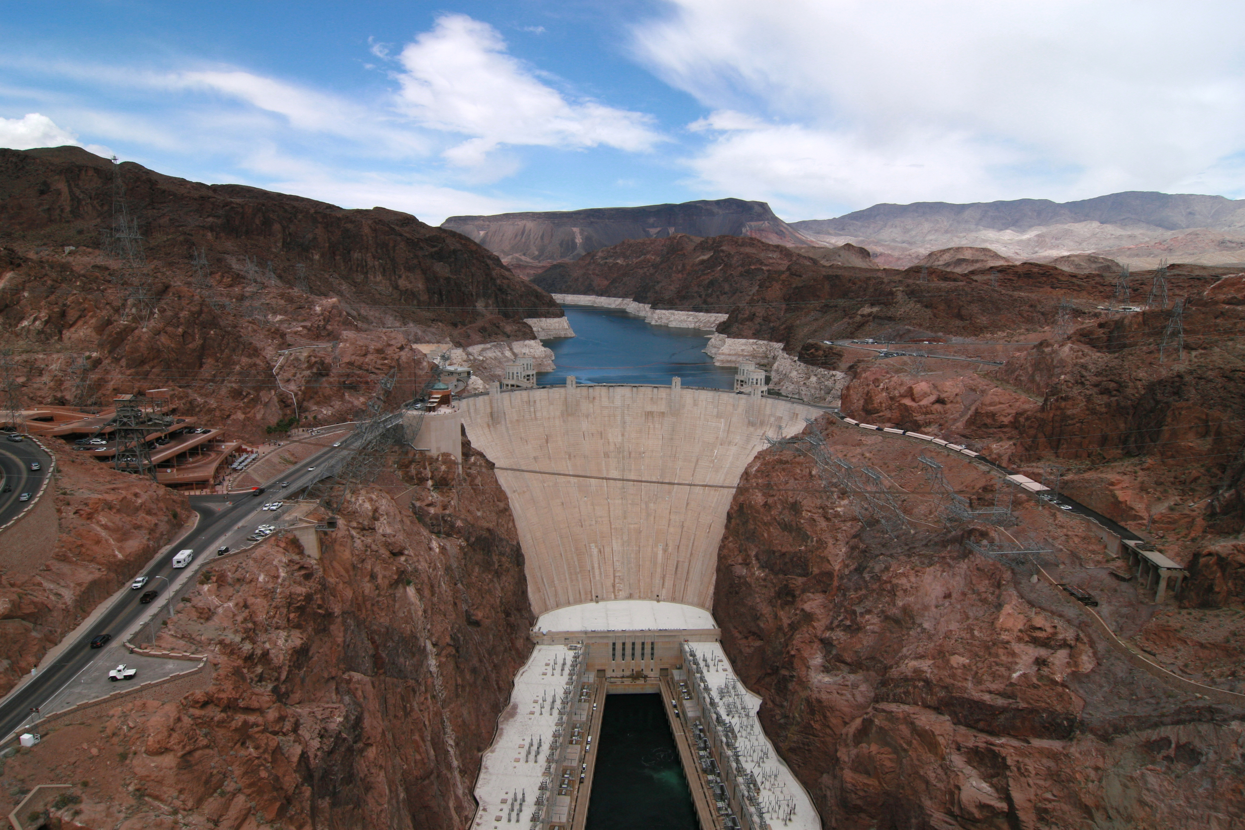 View of Hoover Dam and US Highway 93 from the Mike O'Callaghan–Pat Tillman Memorial Bridge in the Lake Mead National Recreation Area.