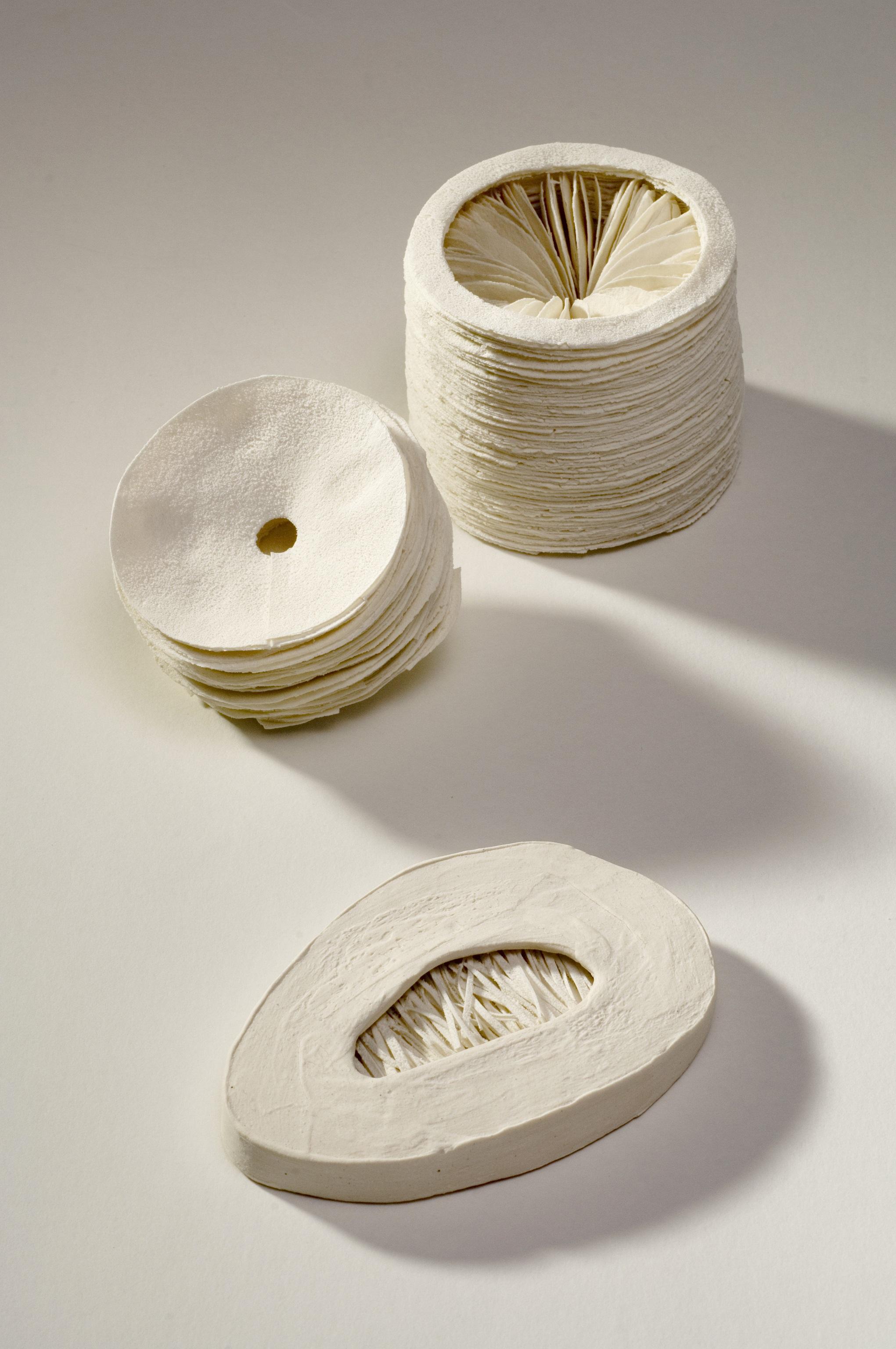 Interior Series (3 parts),  2006, artist blend glaze material, stoneware, 9cm x 18cm x 30cm (grouping)