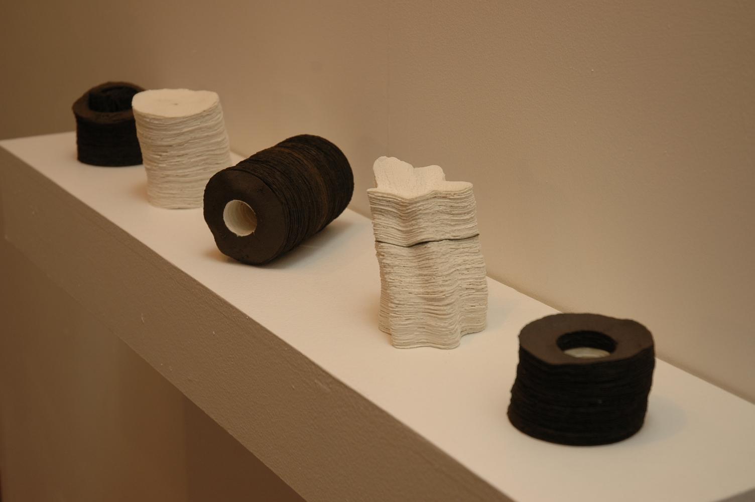 Drift Series,  2006, artist blend glaze material, 10xm x 70cm x 12cm (grouping)