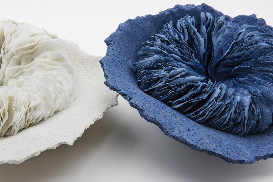 White & The Blue  (detail), 2016, artist blend glaze material, glass additions