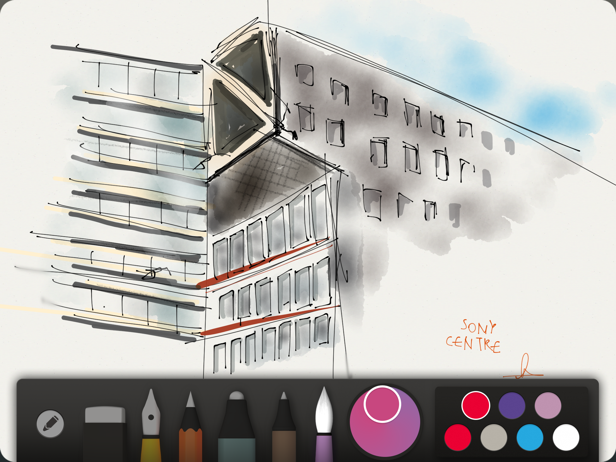 A quick sketch of the architecturaly brilliant Sony Centre in the heart of Berlin.  Click to enlarge.