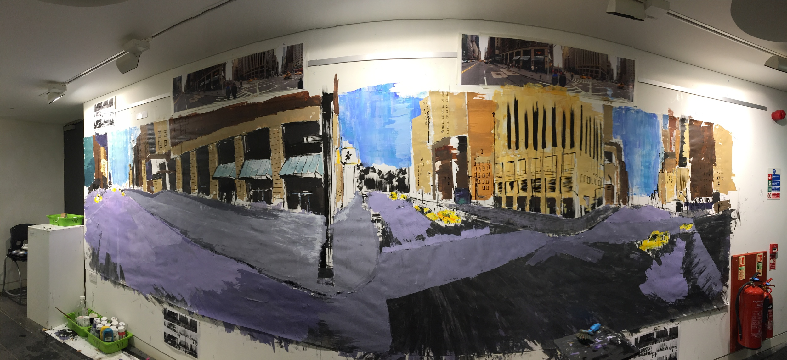Starting to repaint the road area in block sections. The dark grey still visible on the right hand section of the piece. Click to enlarge.