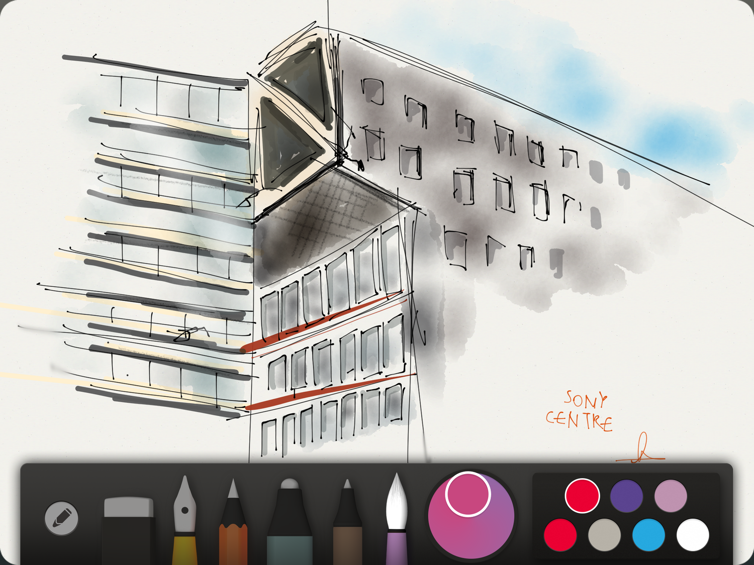 The apps neat and easy to use tools let me draw quick sketches on the go.  Click or Tap to enlarge.