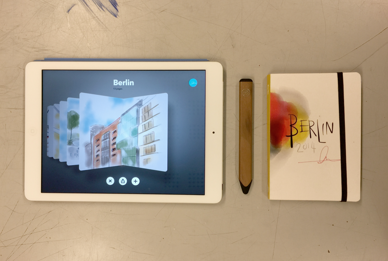My iPad with the Paper App, My Pencil Stylus and the finished printed book.  Click or Tap to enlarge.