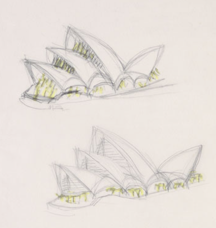 Initial sketches by  architect   Jørn Utzon