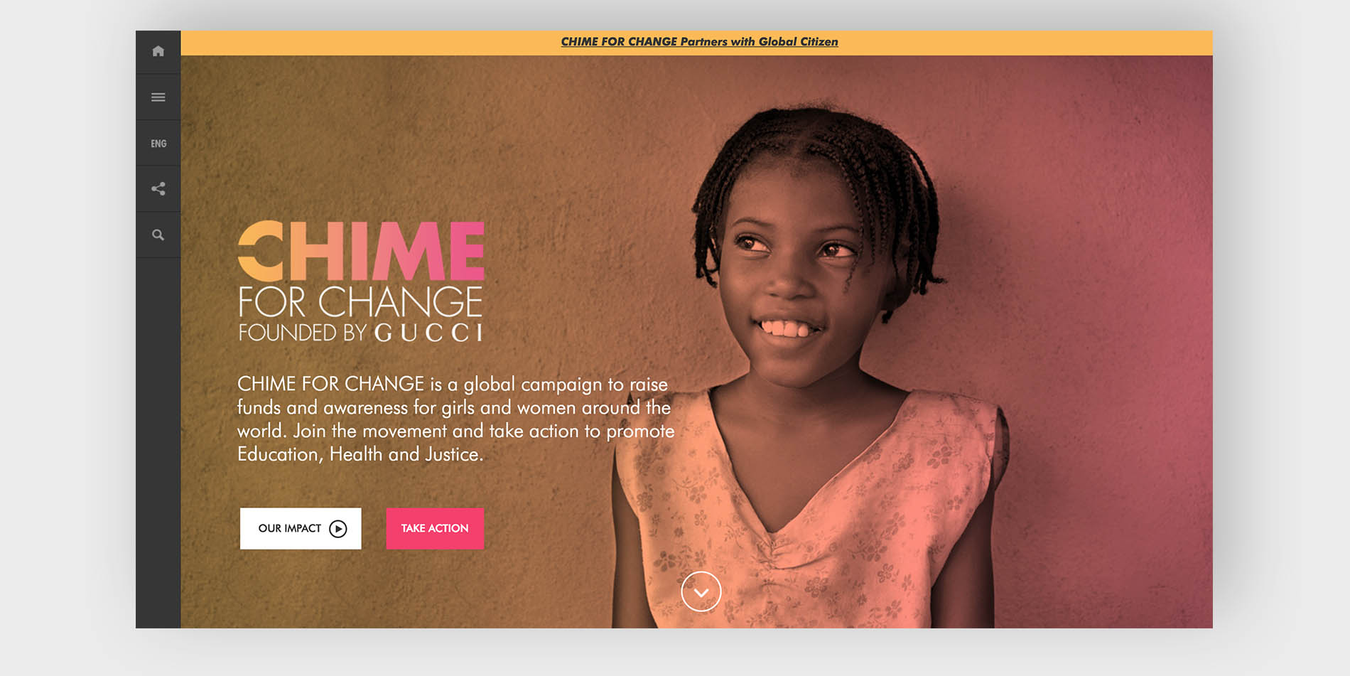 Gucci's Chime for Change website