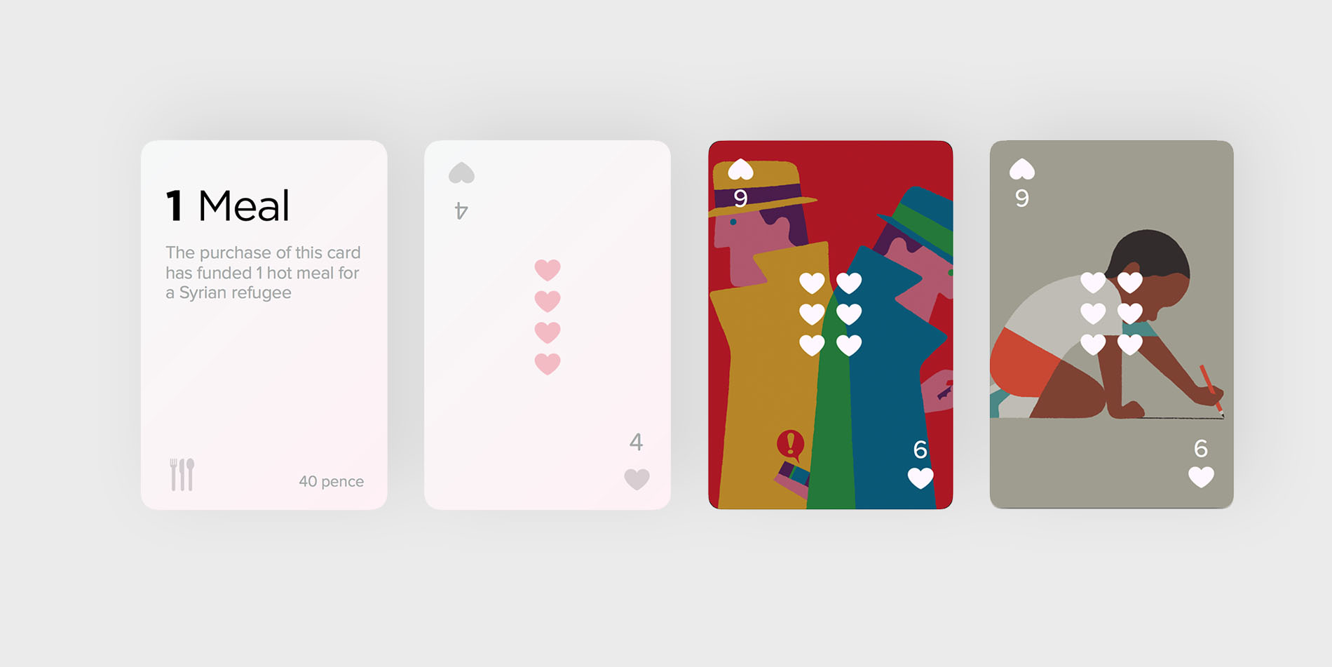 Early designs for the playing cards showing artwork by illustrator  Adrian Johnson .