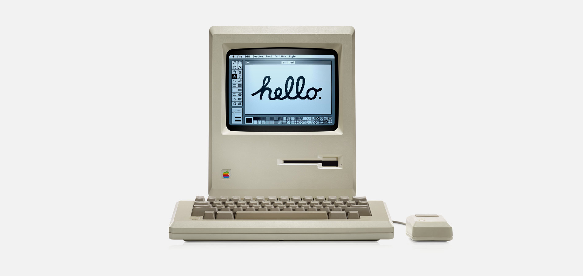 The Macintosh says Hello. A personal computer anyone can use.