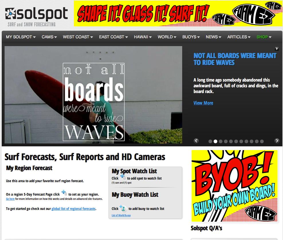 Solspot / Surf Forecasting Website