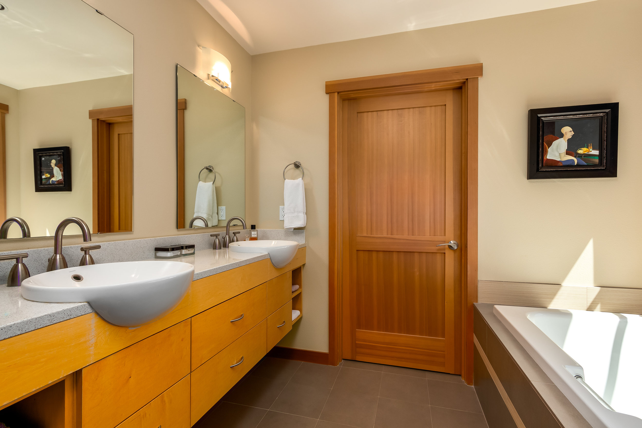 Master Bathroom with soaking tub and double sinks. Luxurious details make you feel like you're in a spa.