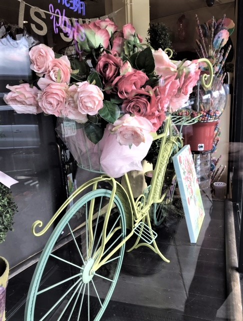 The trademark bicycle in the window case gets a new look with each season.  (Photo Cred: Pam's Island Photography)