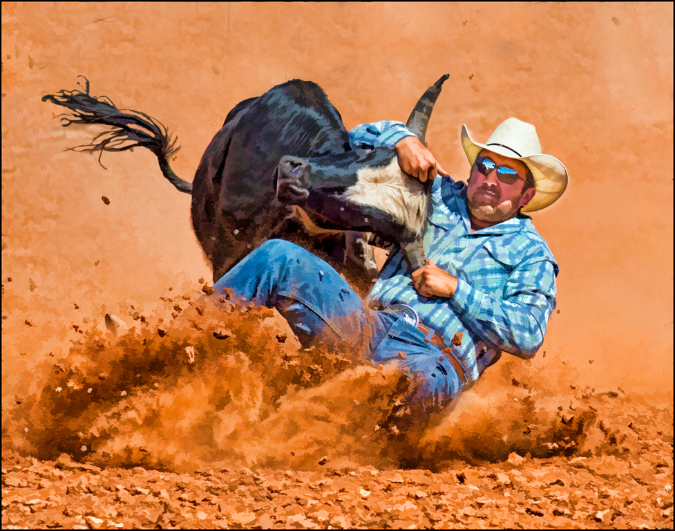 Steer Wrestling Art, Carol McCreary, Oklahoma CC, 2nd HM