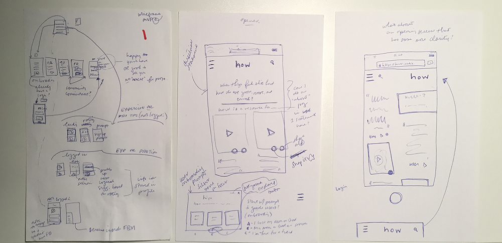 early lo-fi user flow sketches for prototyping