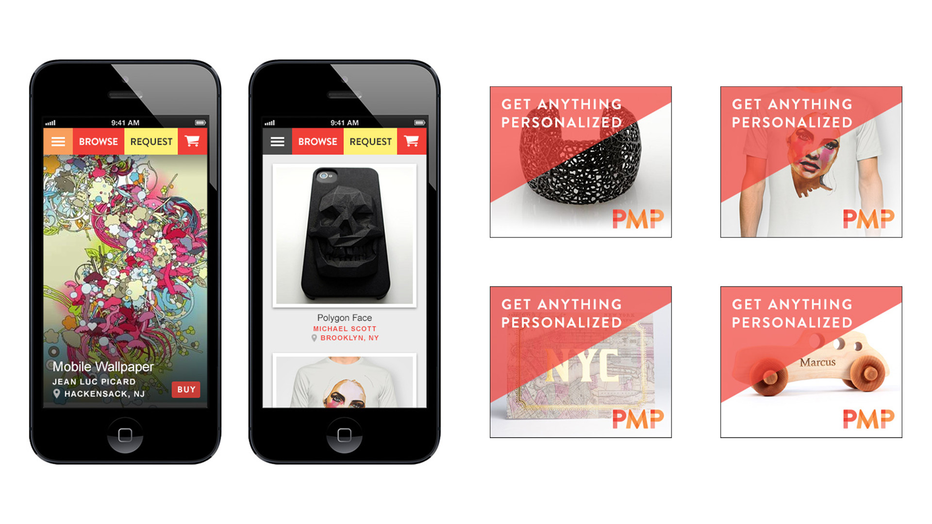 Examples of the platform on mobile and as display ads.