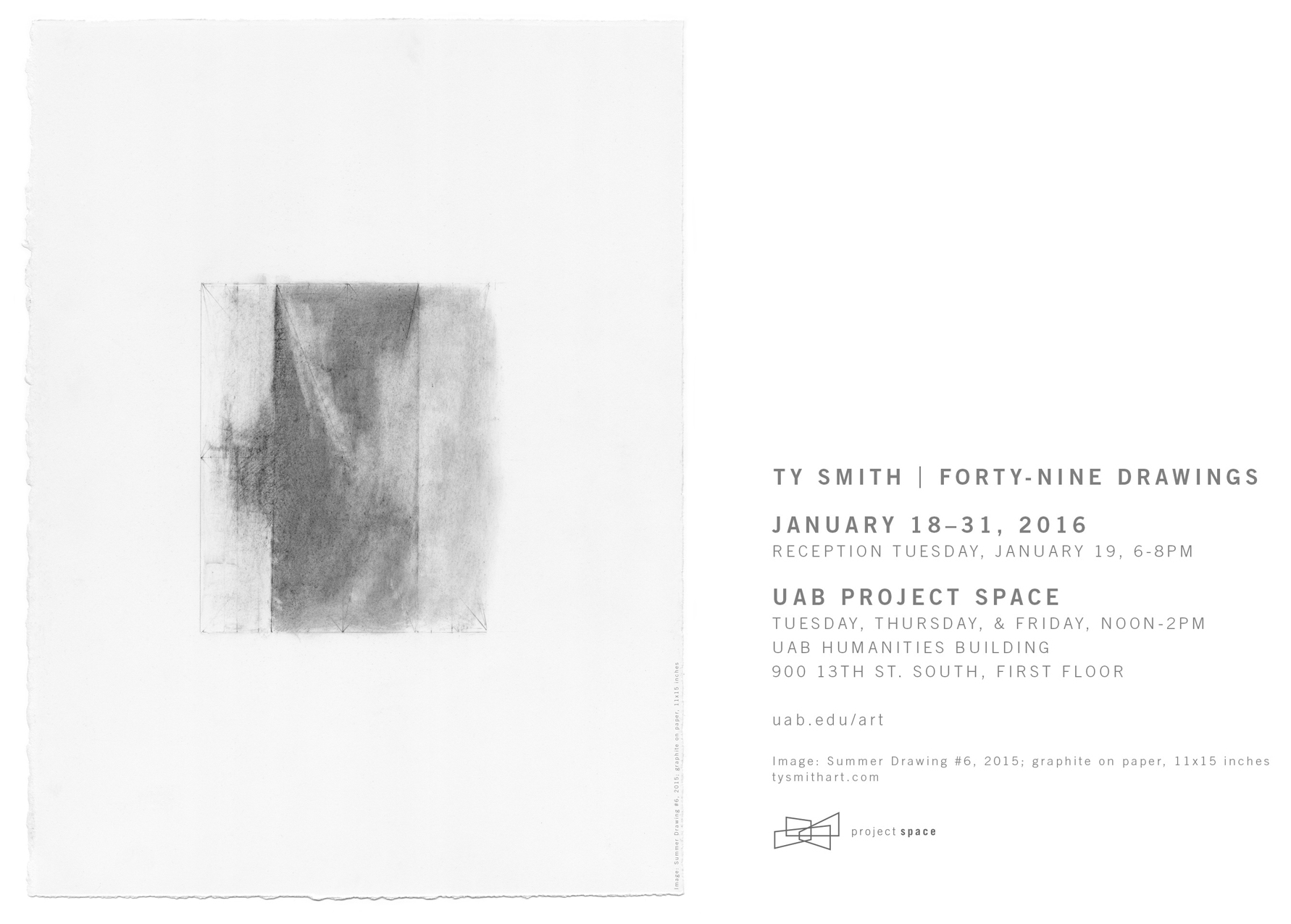 Ty Smith / Forty-Nine Drawings / UAB Project Space / January 18-31, 2016