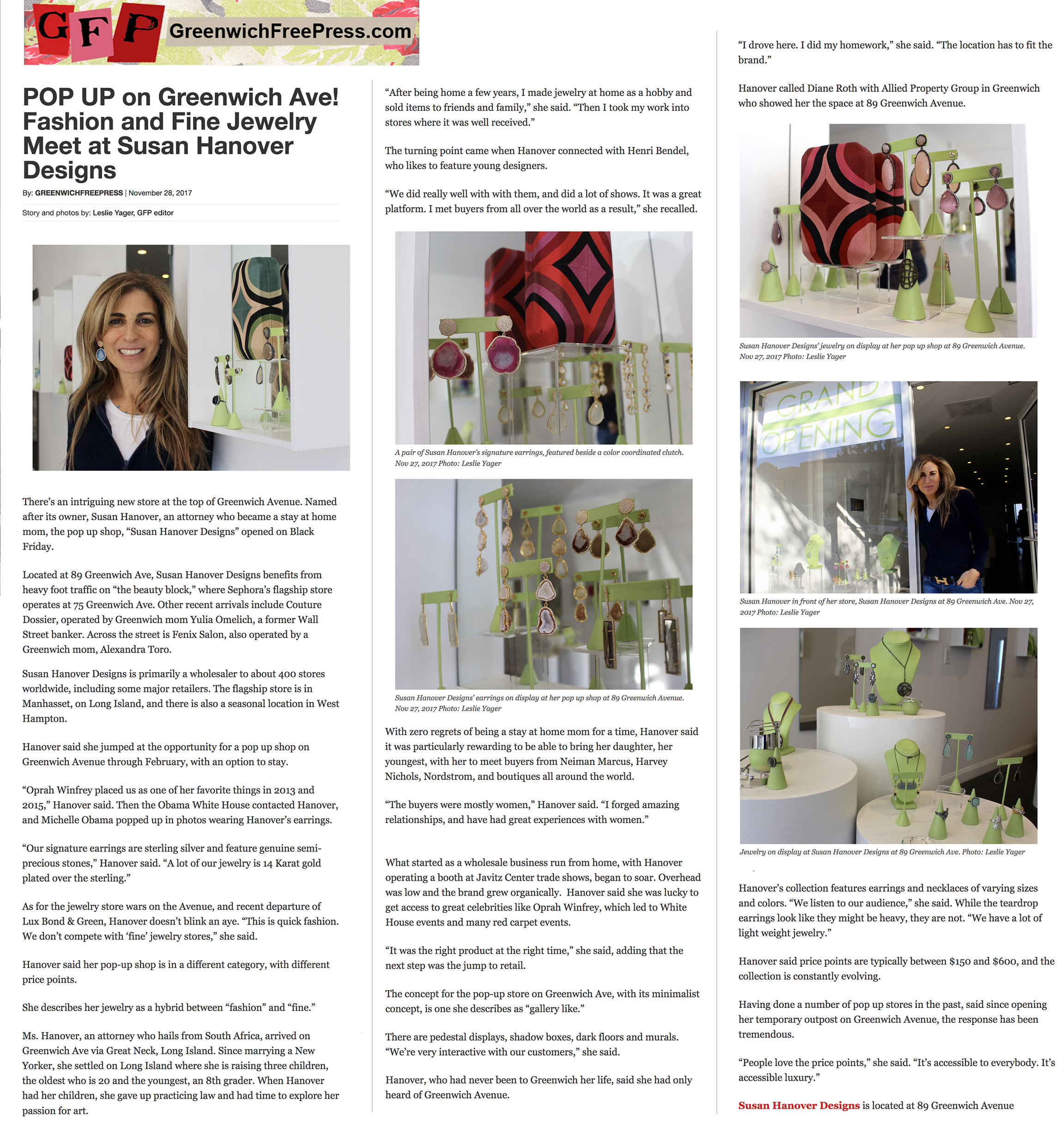Holiday 2017 Pop-Up store in Greenwich, CT. Story in  Greenwich Free Press