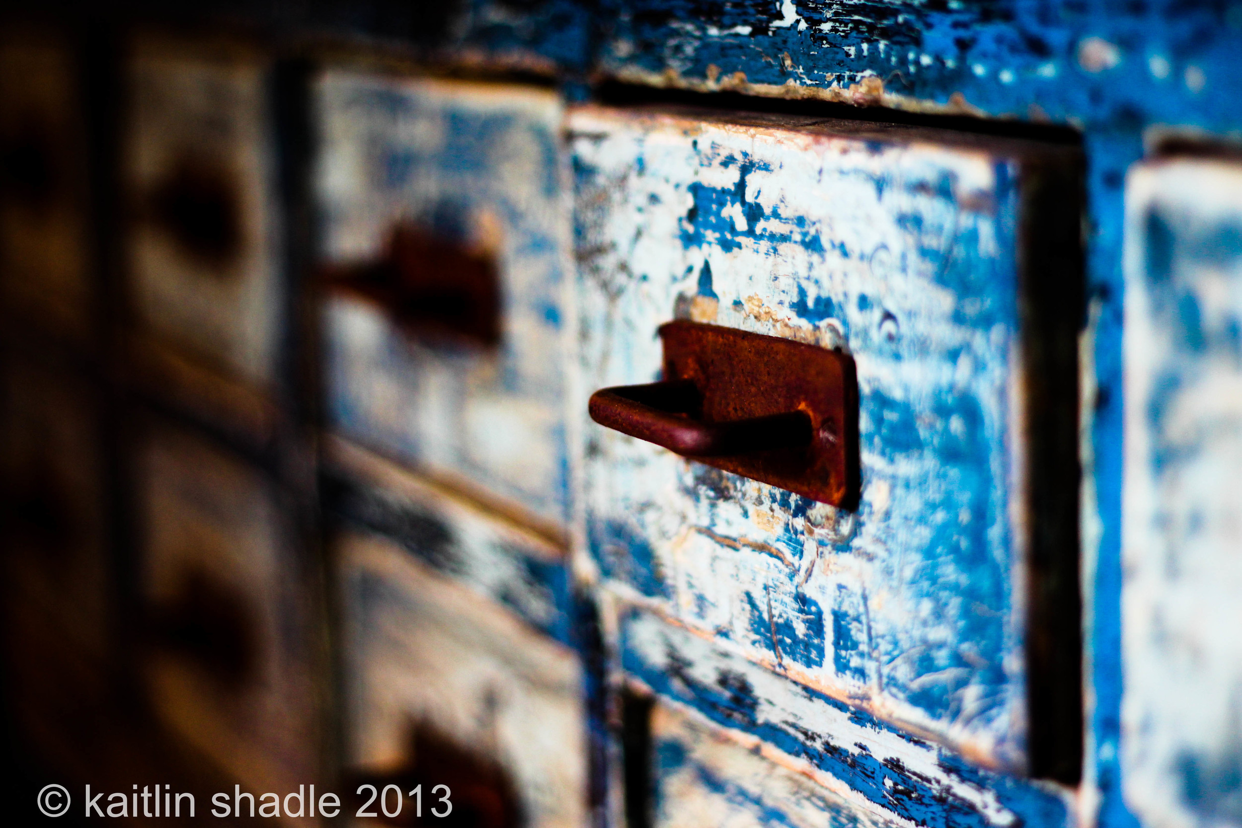 Blue Apothecary Table