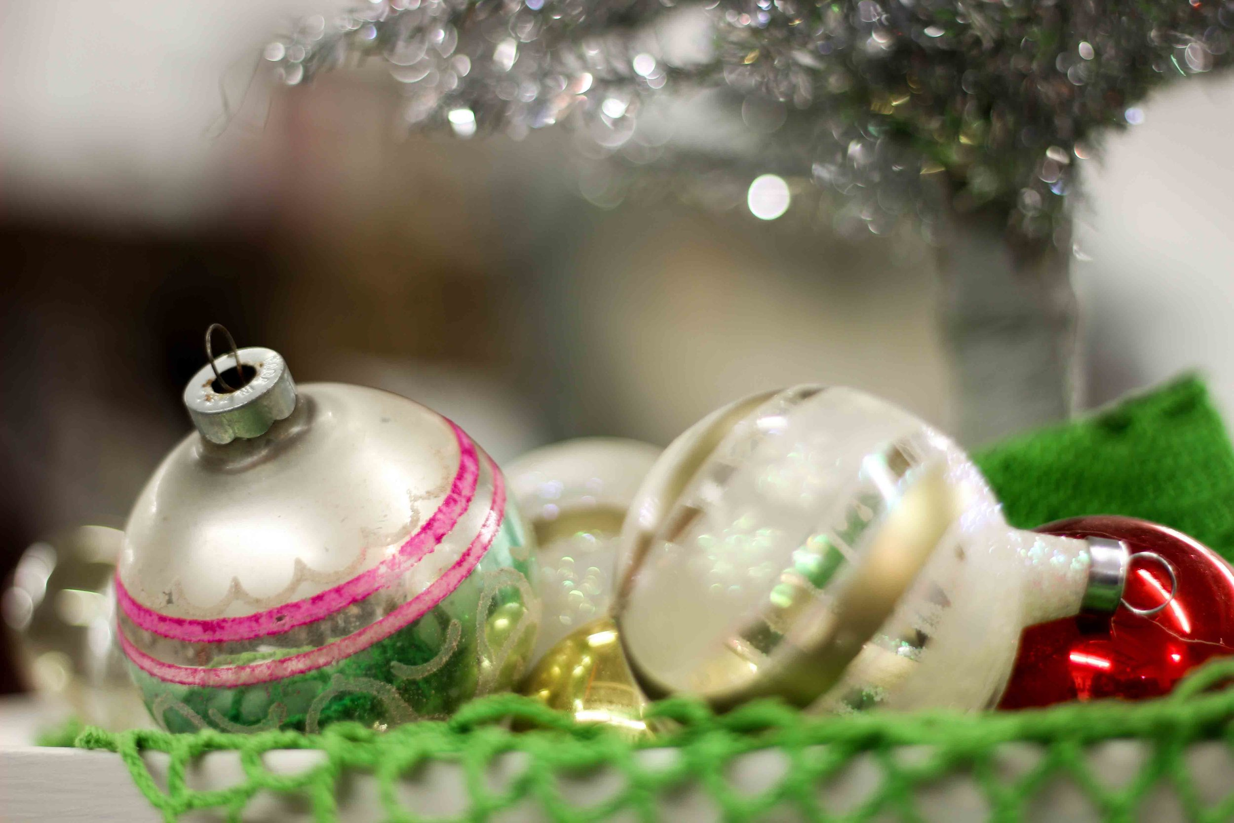 Christmas Balls and Silver Tree