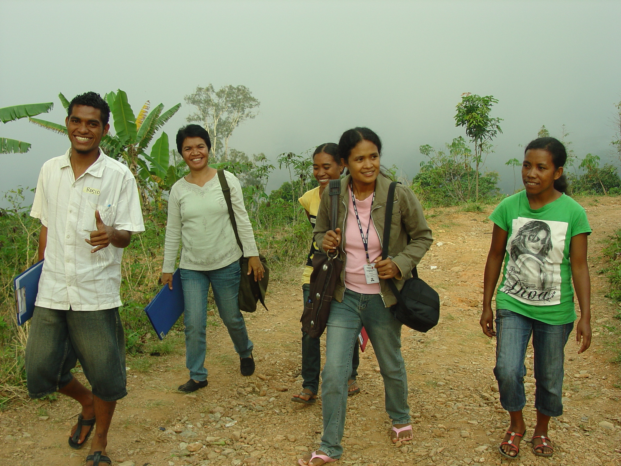 Research team undertaking surveys in Ermera in 2009