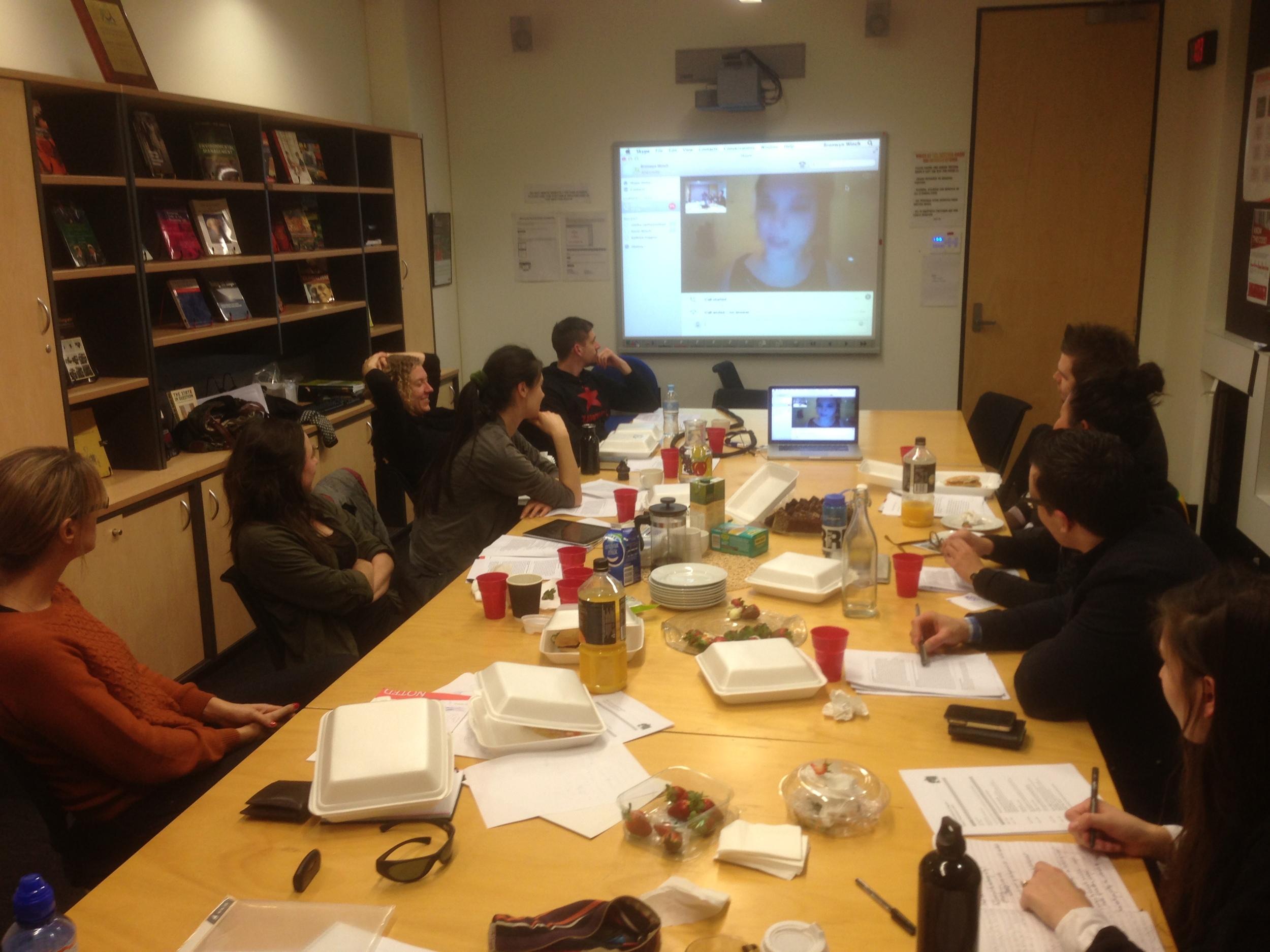 TLR Program Workshop in 2013, RMIT University, Melbourne. Presentation in progress via Skype by Kathryn Higgins.
