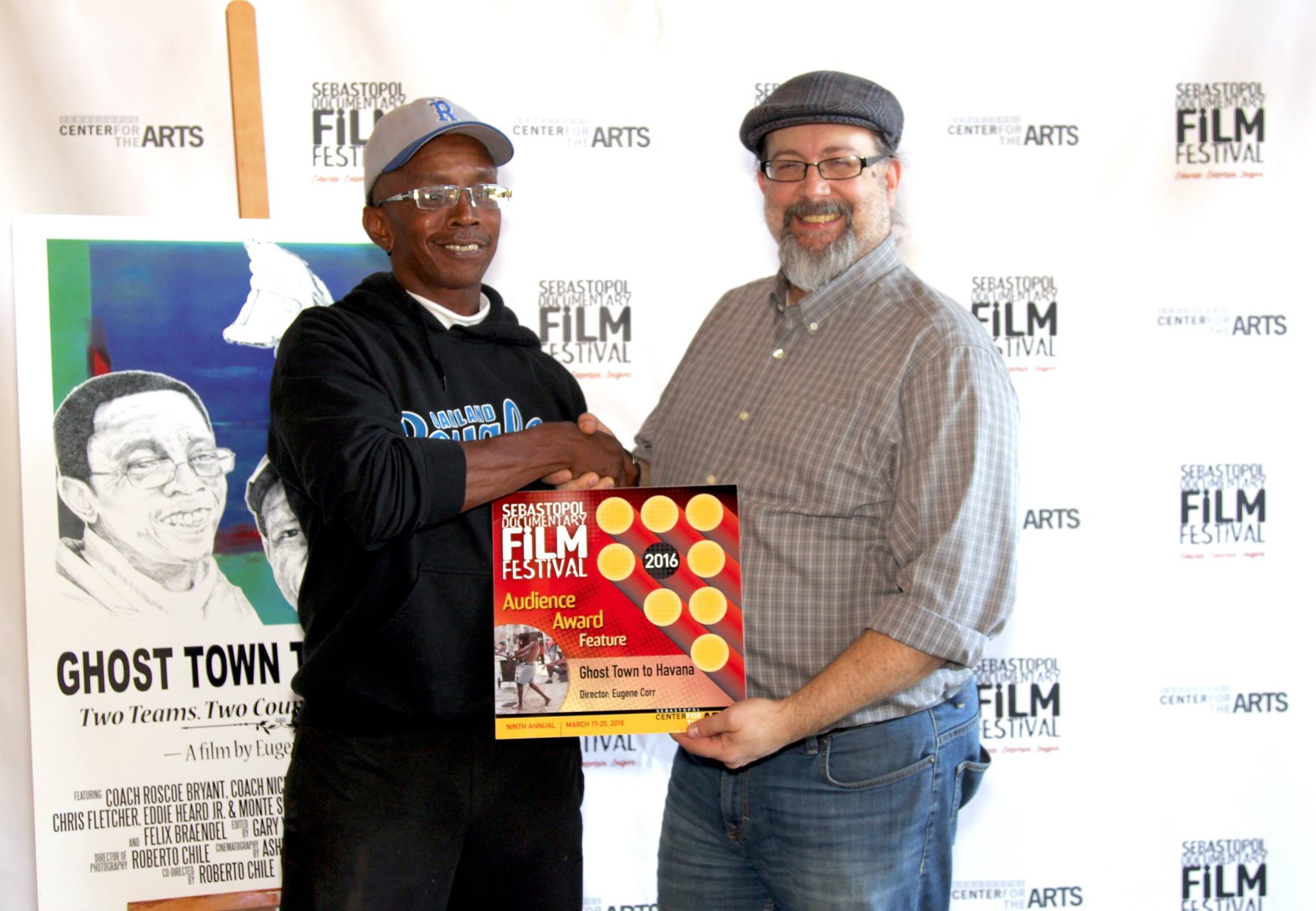 Coach Roscoe Bryant accepts the Sebastopol Documentary Film Festival Audience Award from Festival Director Randy Hall on July 15th, 2016