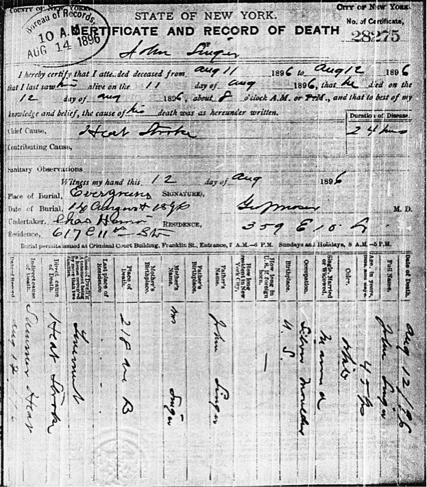 """""""Heat stroke"""" is listed as the primary cause of death in silver molder John Singer's death certificate from August 12, 1896. ( Photo: Edward Kohn)"""
