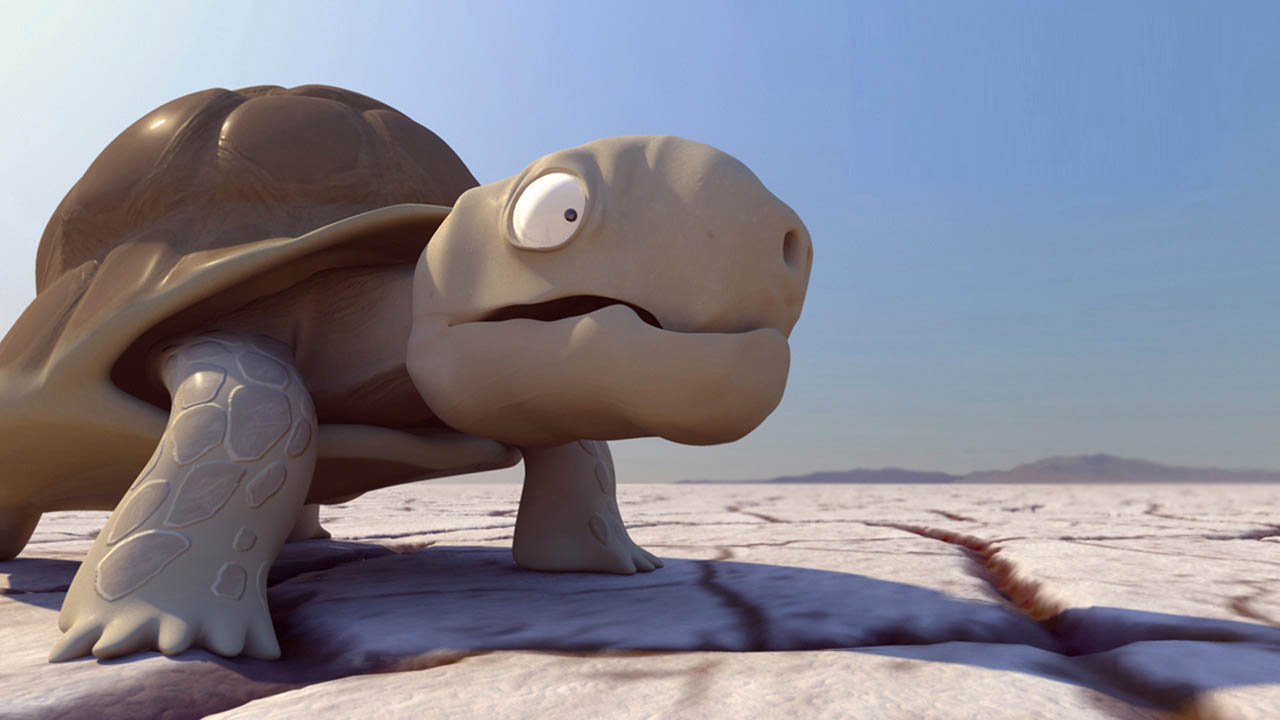 A parched tortoise discovers an oasis in the desert only to find that trespassers are unwelcome.    Running time: 6 minutes