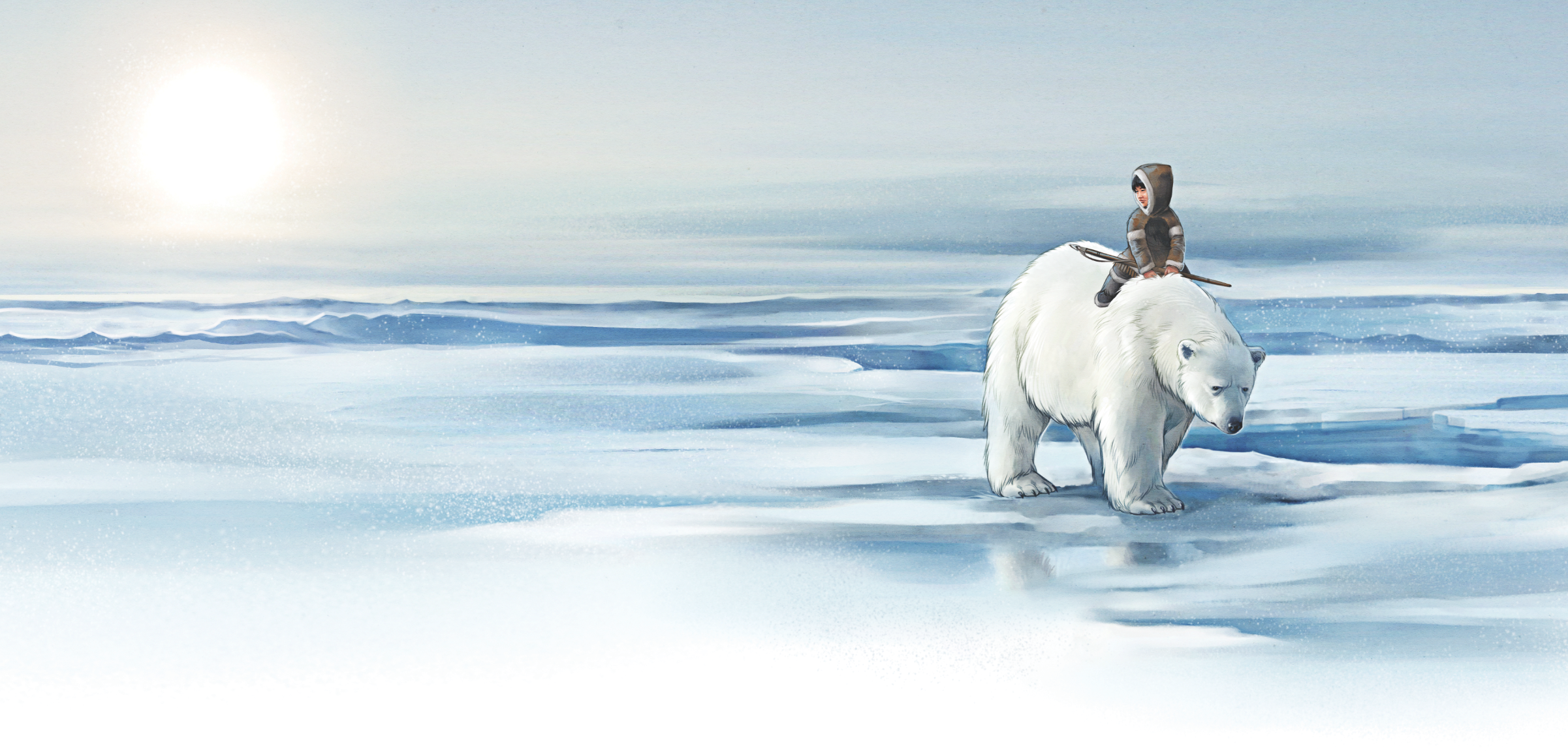 In THE ORPHAN AND THE POLAR BEAR, a neglected orphan is adopted by a polar bear elder. Under the bear's guidance, the little orphan learns the skills he will need to survive and provide for himself.