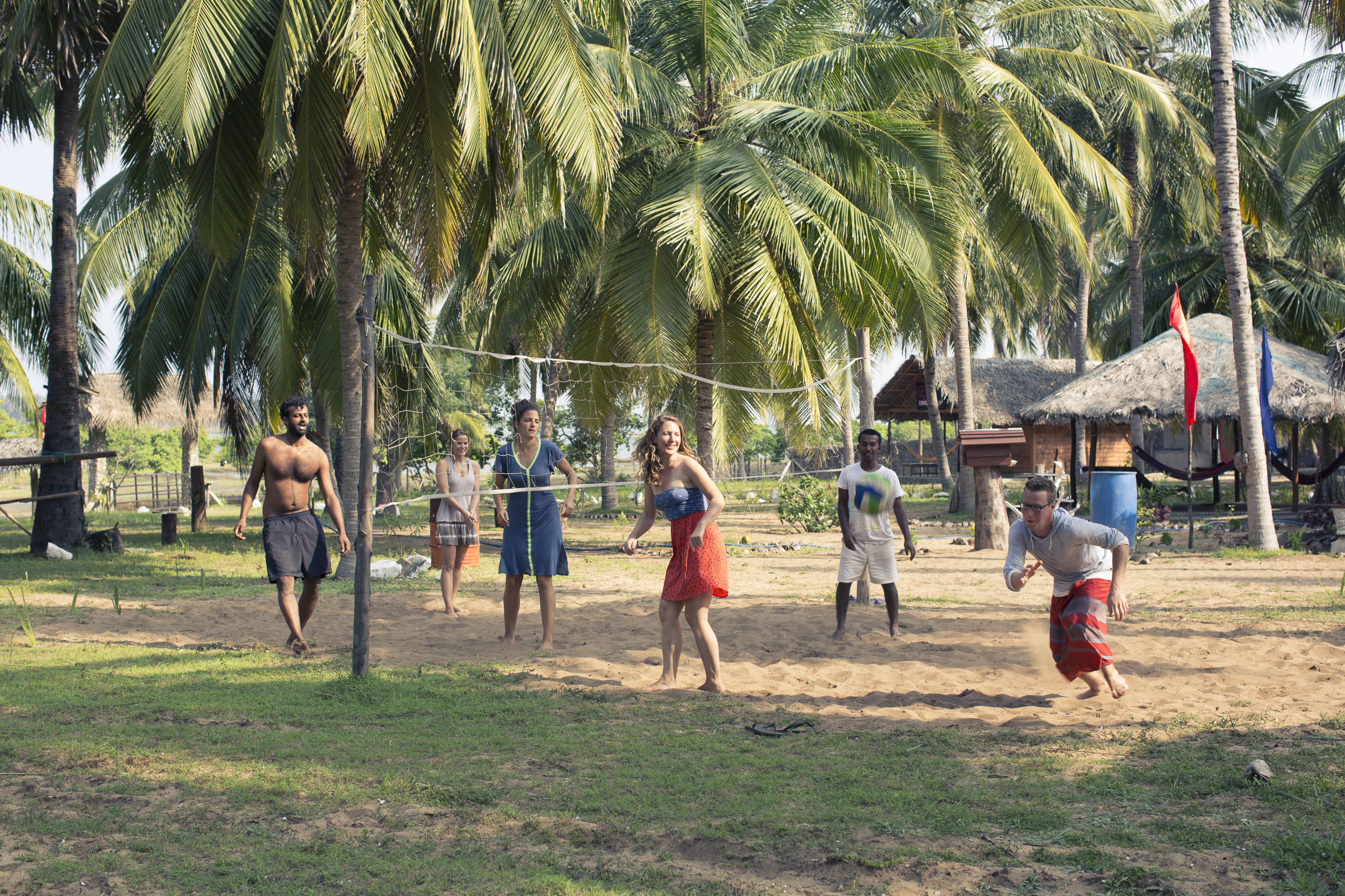 Play a game of volleyball with our local team