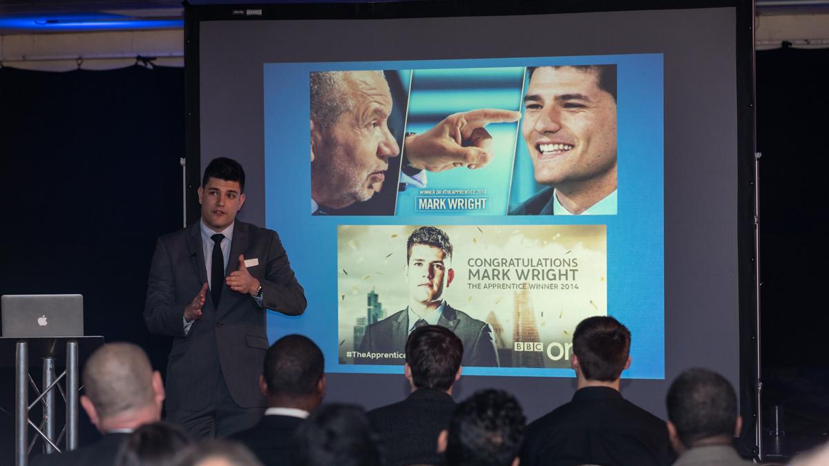 Apprentice winner Mark Wright presenting at Sutton FC for Sutton Business Club