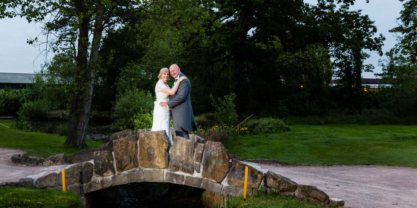 Bride and Groom evening wedding portrait