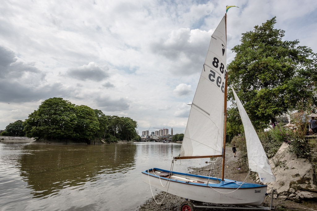 Sailing boat by the Thames, Strand-on-the-Green, Chiswick