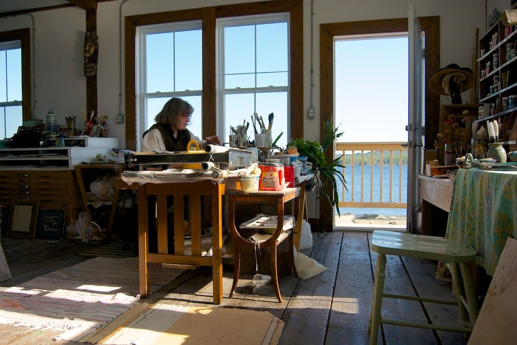 Jacqueline M Cohen at the Westcote Bell Pottery studio,Lahave, NS.
