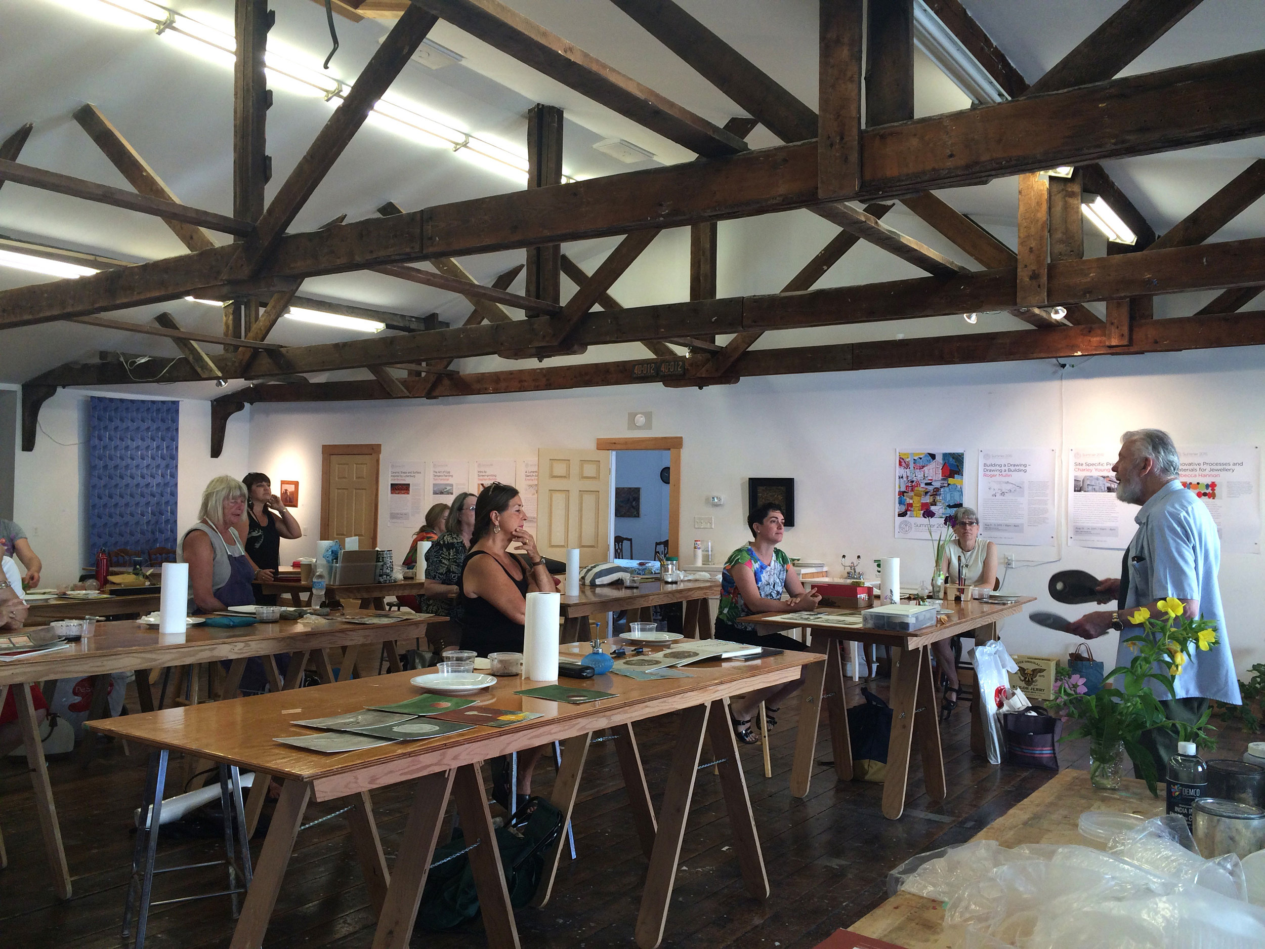 Tom Forrestall leading 'The Art of Egg Tempera Painting' in the Lunenburg School of the Arts studios.  Photo courtesy of the LSA.