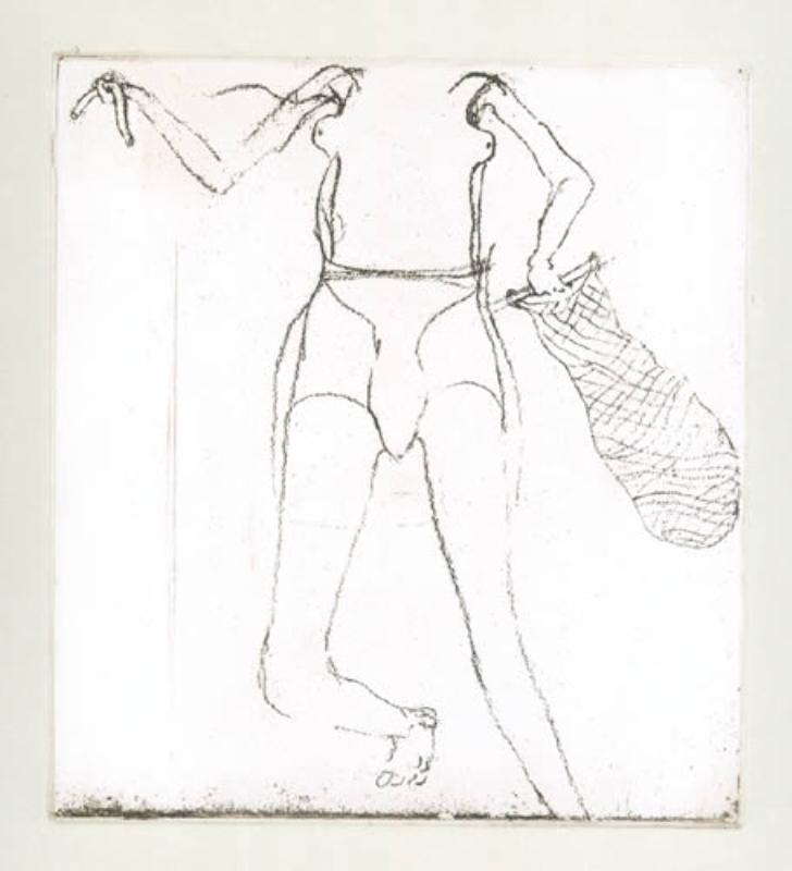 Zirkulationszeit: `Taucherin` .1982 . Radierung . handsigniert und nummeriert (75) . Schellmann 433 .Papier 38 x 28,5 cm.Druck 16,3 x 14,8 cm