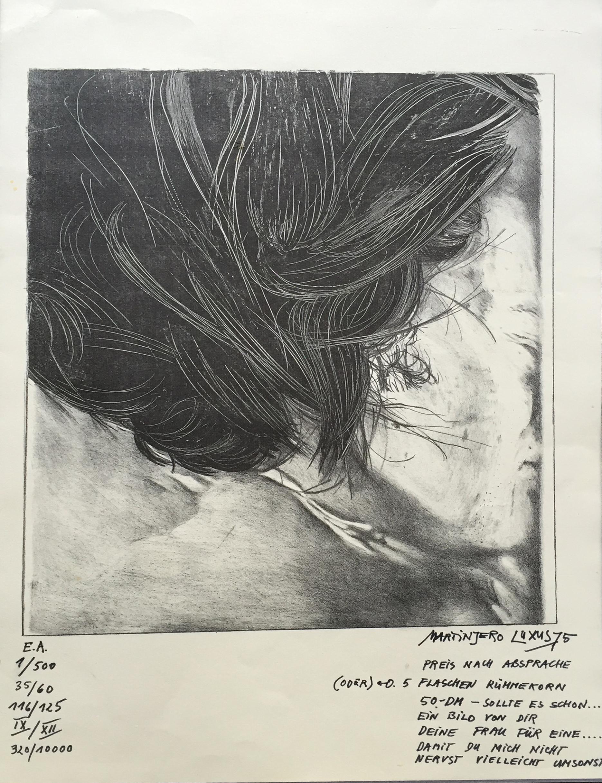 ›Martin Jero LuxusB‹, 1975, Lithographie/Zeichnung, 60 x 50 cm, Unikat aus Privatbesitz