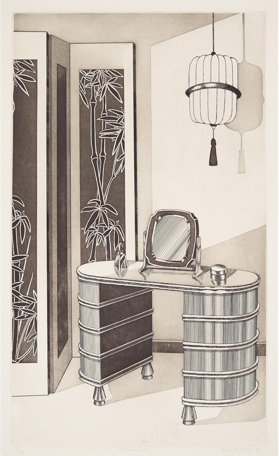 Almut Heise    Boudoir . 1971 Strichätzung, Aquatinta . 51 x 31 cm Auflage 30 . s  igniert und datiert  1.000 Euro