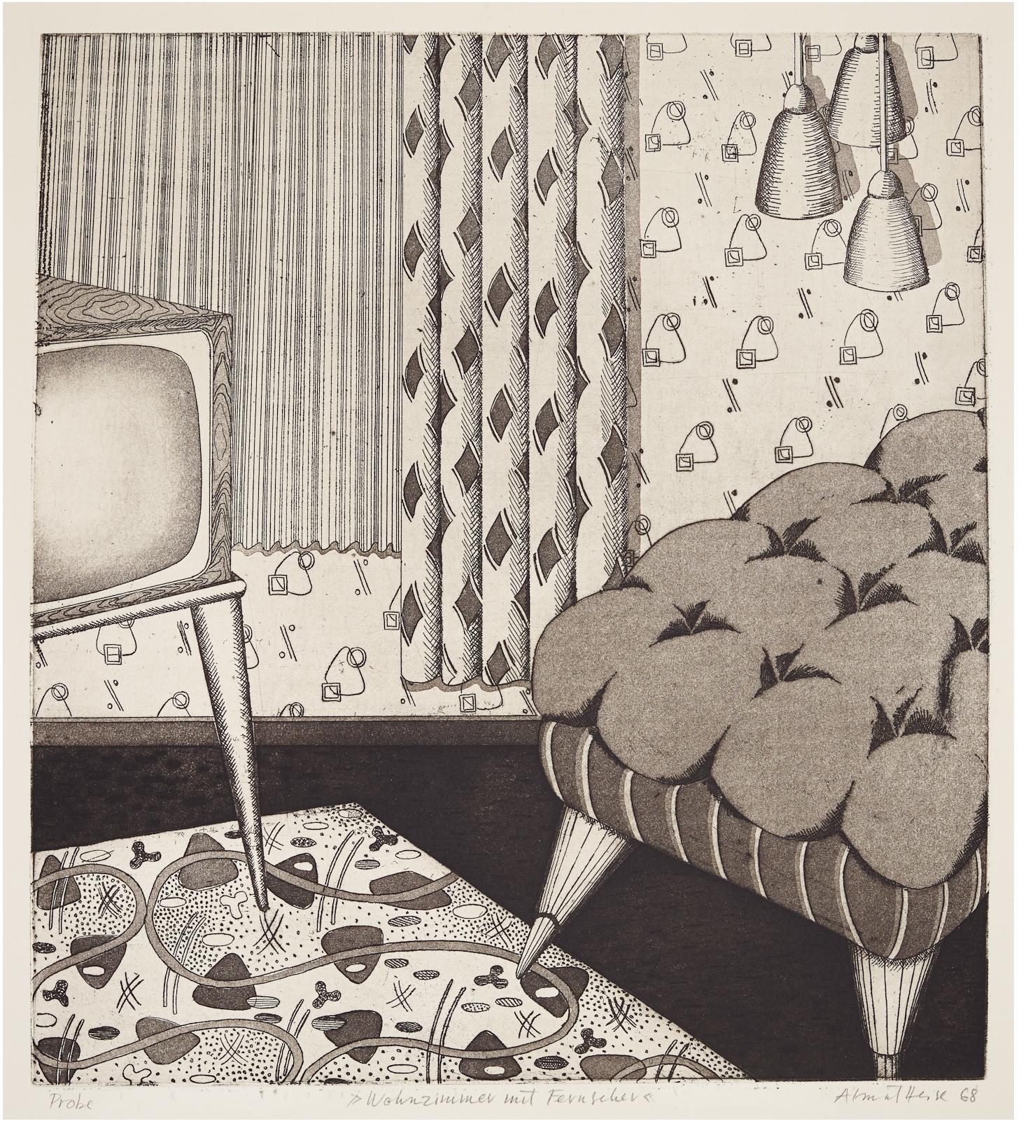 Almut Heise   Wohnzimmer mit Fernseher . 1968 Strichätzung, Aquatinta 40 x 36 cm EInzelstück .signiert und datiert  1.000 Euro