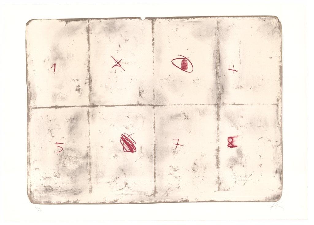 Antonie Tàpies   Toile pliée et chiffres . 1974 Farblithografie . Auflage 90 . 63 x 90 cm  2.800 Euro