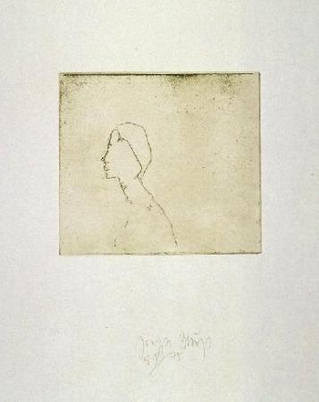 Zirkulationszeit: ` Kopf H.B. ` . 1982 Radierung . handsigniert und nummeriert (75) . Schellmann 423 . Papier 45 x 33 cm . Druck 14,8 x 16,3 cm .  1.500 Euro