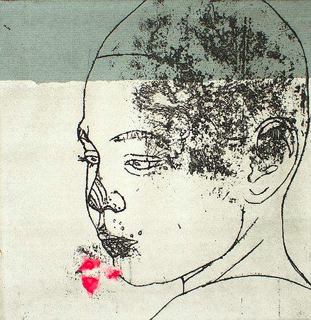 Nina Hotopp  Kopf I . 2012 .Radierung / Strichätzung mit Stempeldruck .2012 . 19,5 x 19,5 cm   180 Euro